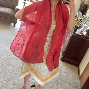 Coldwater creek red beaded boho scarf cover up